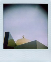Top of the crazy-modern church on West Alabama