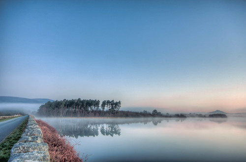 dawn morning lake reservoir dam river r765 road 35383940 280311 canon eos 450d sigma 1020 calm reflections spring sunrise mist vartry roundwood landscape county wicklow garden ireland fog g