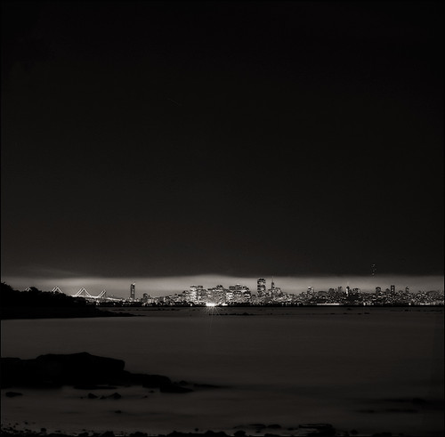 San Francisco from Albany bulb at night Hassy500CM Acros D-76 06-2007 ES 4990 003