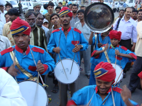Drummers greet our arrival in Hyderabad | by Ben Sutherland