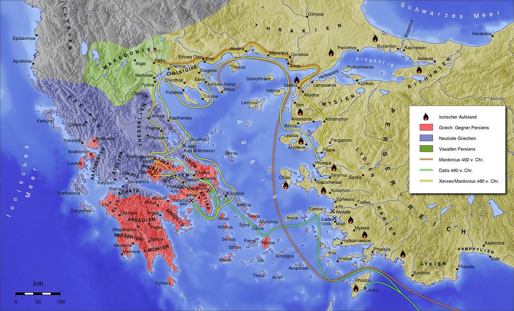 Persian wars map | Ancient Greek States-Persian wars (499 BC ...