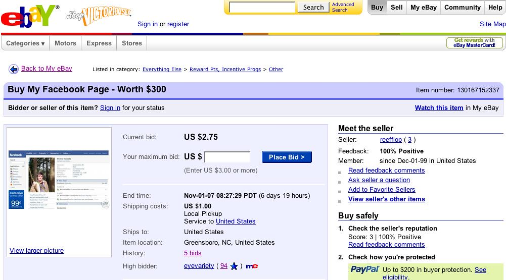 Buy My Facebook Page On Ebay I M Cashing In On The Idea Th Flickr