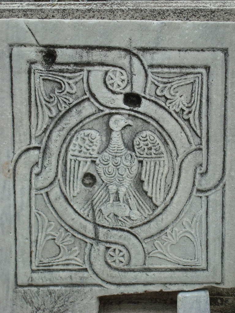 Byzantine Bird Design Carved in Marble