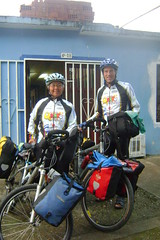 Randy and Nancy leaving the Casa de Ciclistas in Cali