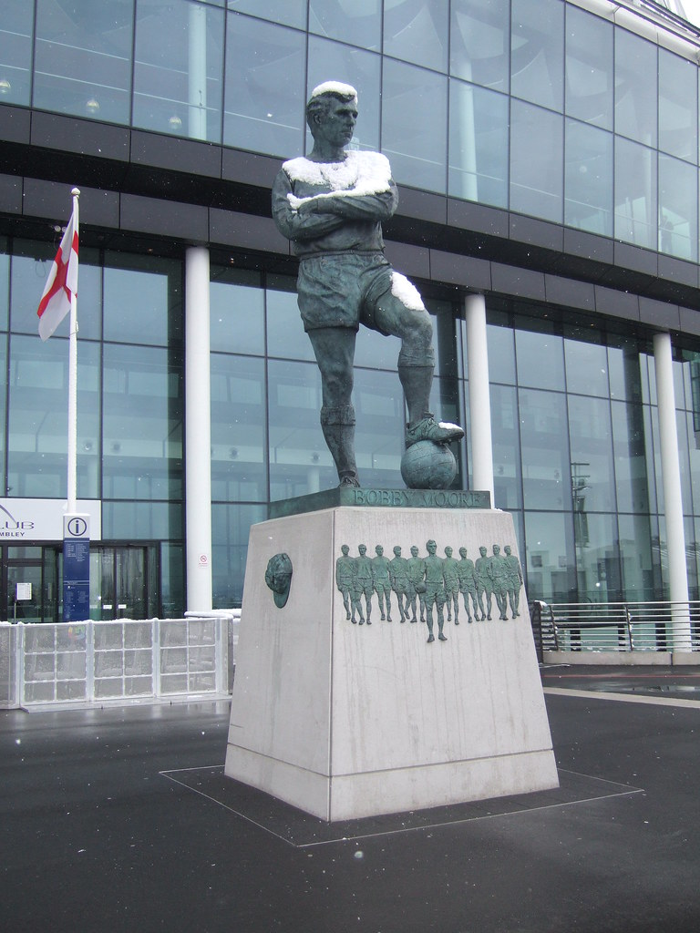 Bobby Moore statue at Wembley Stadium covered in snow | Flickr