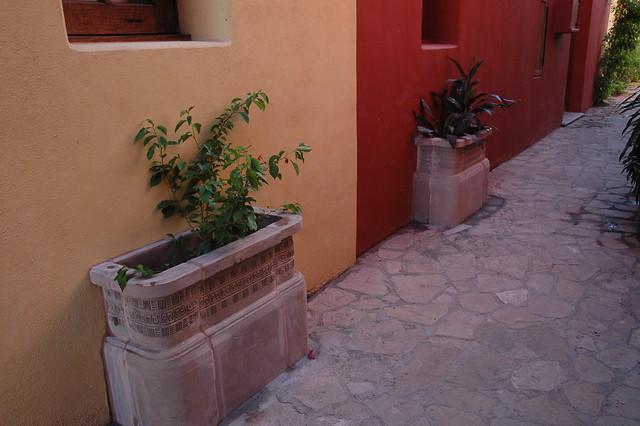 New planters on walkways.