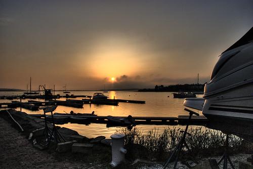 sunset water boat hdr cataumet