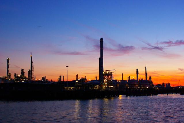 Oil Terminal Sunset