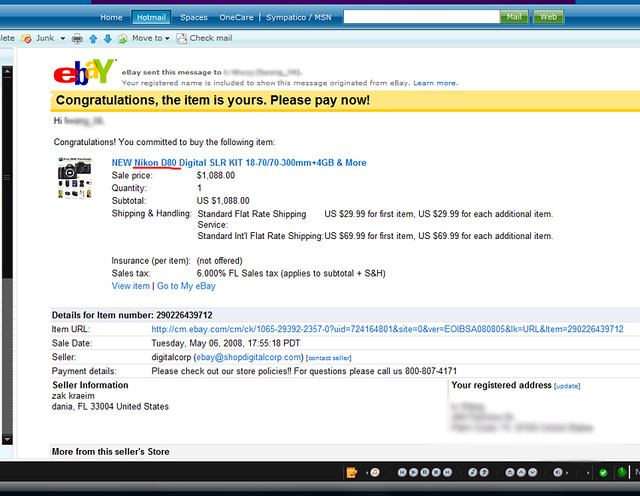 Nikon D80 eBay Confirmation | Yes, you read that right  | Flickr