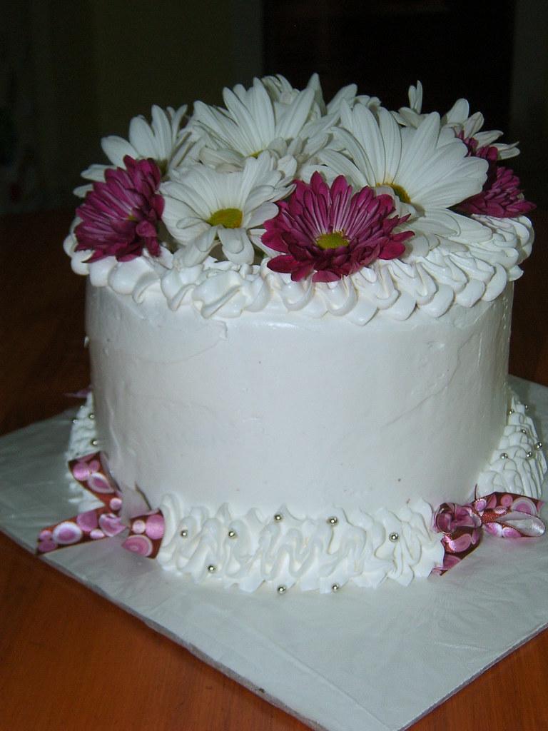 Birthday Cake W Fresh Flowers