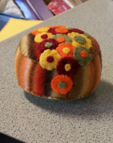 fall flower pincushion front | by createitcottage