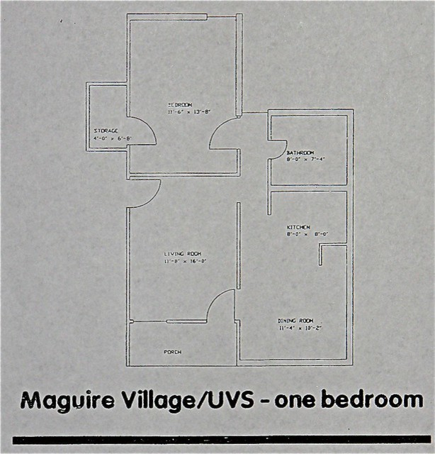 Maguire-UVS Village One-Bedroom Floor Plan | The approximate