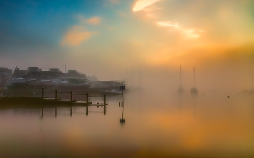christchurch england unitedkingdom gb mist fog winter orange yachts sonyalpha sunlight sea harbour nature art contrast uk dorset thequomps christchuchsailingclub bay christchurchquay anthonywhitesphotography