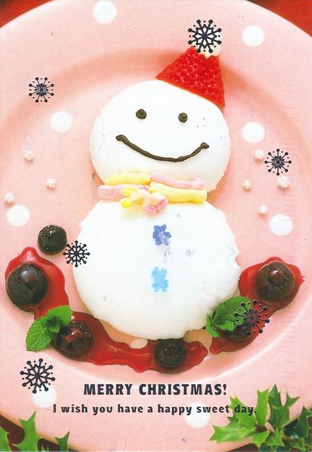 Kawaii Smiling Snowman Christmas Cake Postcard