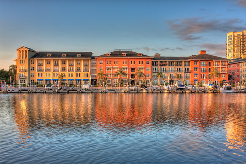 reflection colors sunrise tampa colorful florida condos hdr topaz harbourisland photomatix