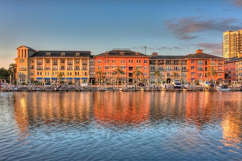 reflection colors sunrise tampa colorful florida condos hdr topaz harbourisland photomatix