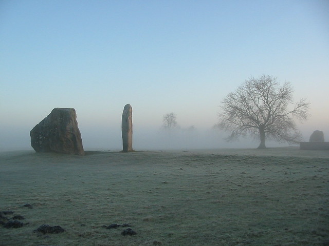Avebury stones in the morning mist