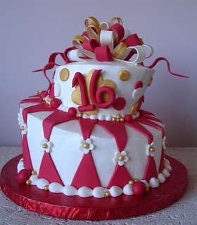 Brilliant Red White Gold Topsy Turvy Cake A 16 Year Olds Birthday Flickr Funny Birthday Cards Online Elaedamsfinfo