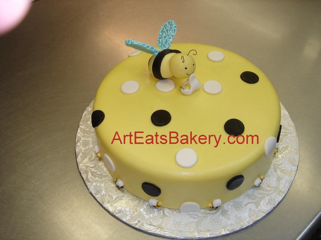 Custom Designed Yellow Black And White Fondant Baby Showe Flickr