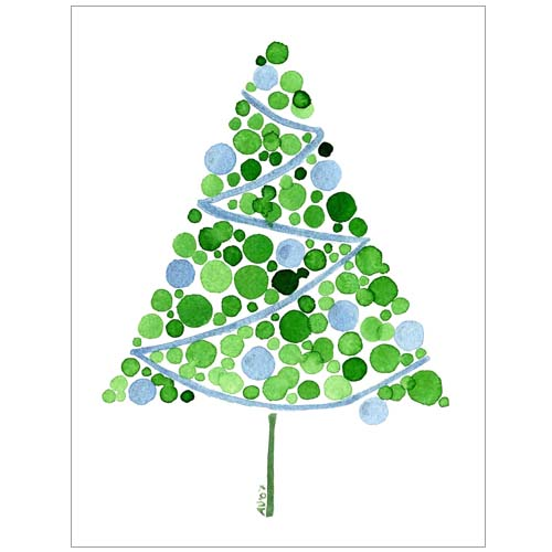 Watercolour Christmas Tree: Blue Christmas Tree Watercolor Card