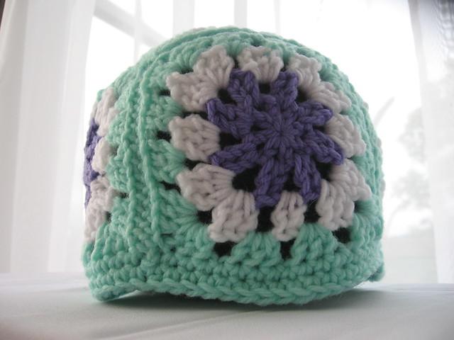Soley Granny Square Hat in purple