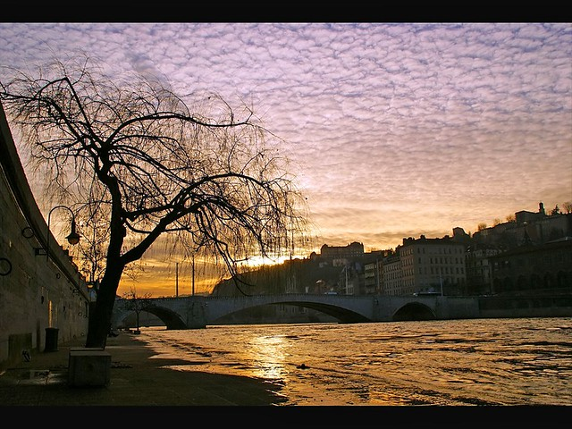 Lyon - Sunset over the Saône river