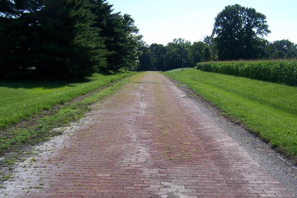 Driveable brick National Road segment