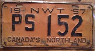NORTHWEST TERRITORIES 1957 PUBLIC SERVICE plate