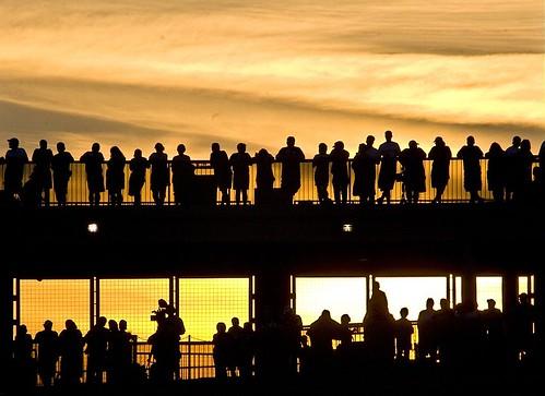 sunset shadow sky people usa sun silhouette skyline clouds photo football pittsburgh stadium roadtrip packers explore pa greenbay fans steelers catwalk heinzfield stillers preseason anawesomeshot mstyborski backtotheburgh
