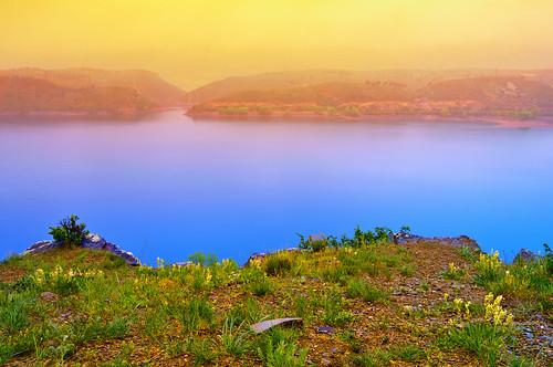 blue sunset orange mist lake fog landscape nikon colorado fort cove fortcollins vivid surreal reservoir fantasy shore ethereal co collins d300 blueribbonwinner horsetoothreservoir coloado clff blueyellowpolarizer colourartaward sunsetgrad filternotphotoshop