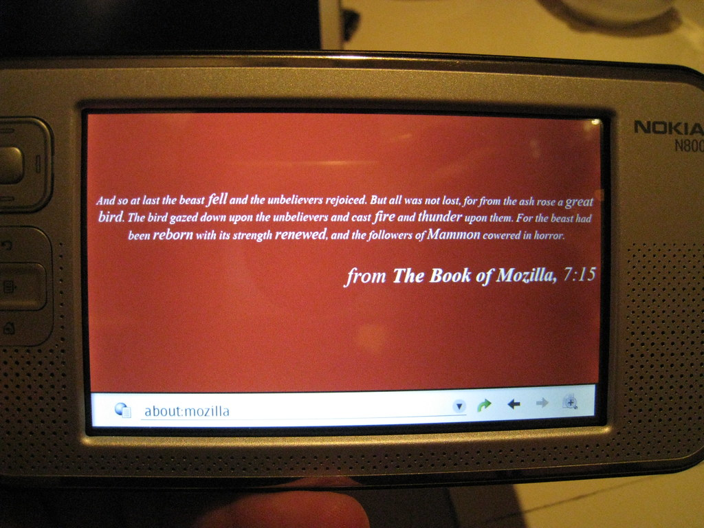MicroB about:mozilla screen running on Nokia N800