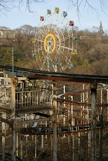 Roller coaster and big wheel in Kaeson Youth Park, Pyongyang | by Moravius