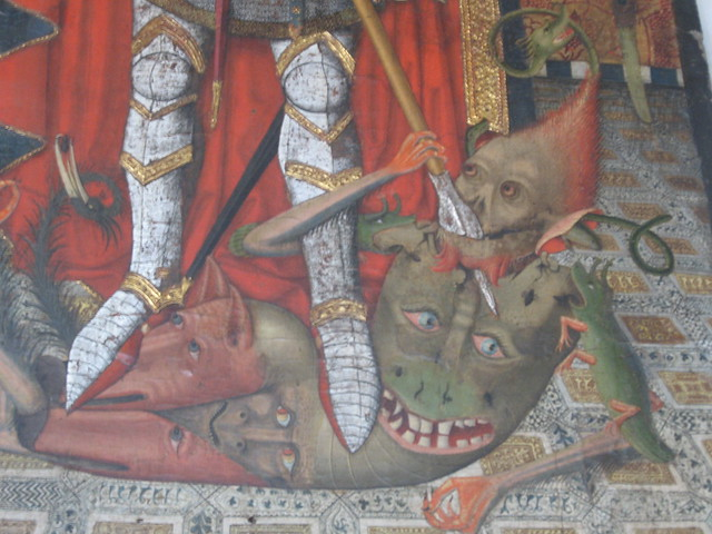 Detail of Saint Michael trampling evil