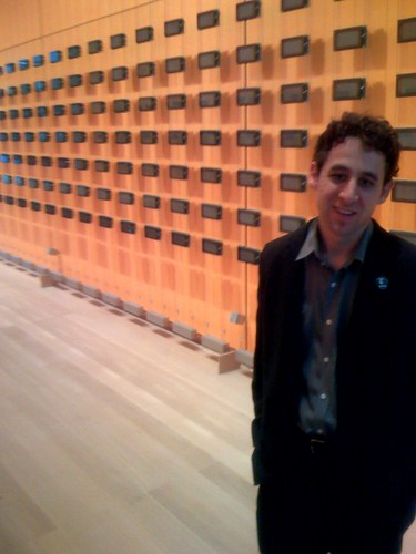 Jacob Harris in front of installation art in NY Times lobby | by scriptingnews