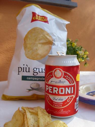 Peroni and Crisps