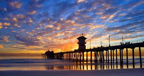 ocean california sunset sea sky reflection beach water silhouette clouds coast pier sand huntington shore brianknott forgetmeknottphotography fmkphoto