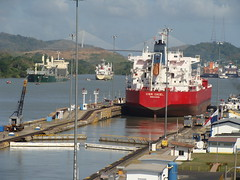 View of the Miraflores locks on the Panama Canal at Panama City