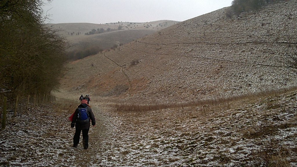 Wintry Descent in the Barton Hills SWC Walk 229 Leagrave to Harlington Photo provided by Kevin G