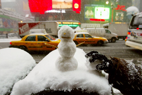 Snowman on a Mailbox in Times Square New York