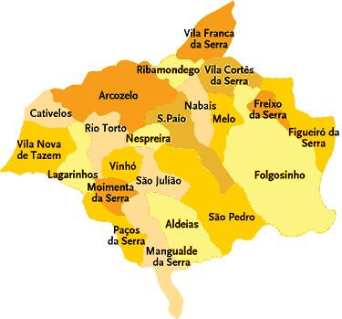 Concelho De Gouveia Portugal Mapa Das Freguesias Jorge