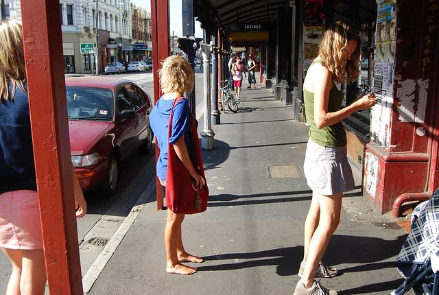 barefoot aussie hipster girl in the austral summer, brunswick, fitzroy (melbourne)