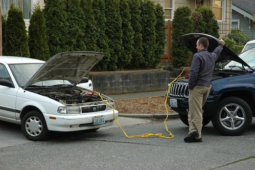 Man at ease, recharging a dead battery, Seattle, Washington, USA | by Wonderlane