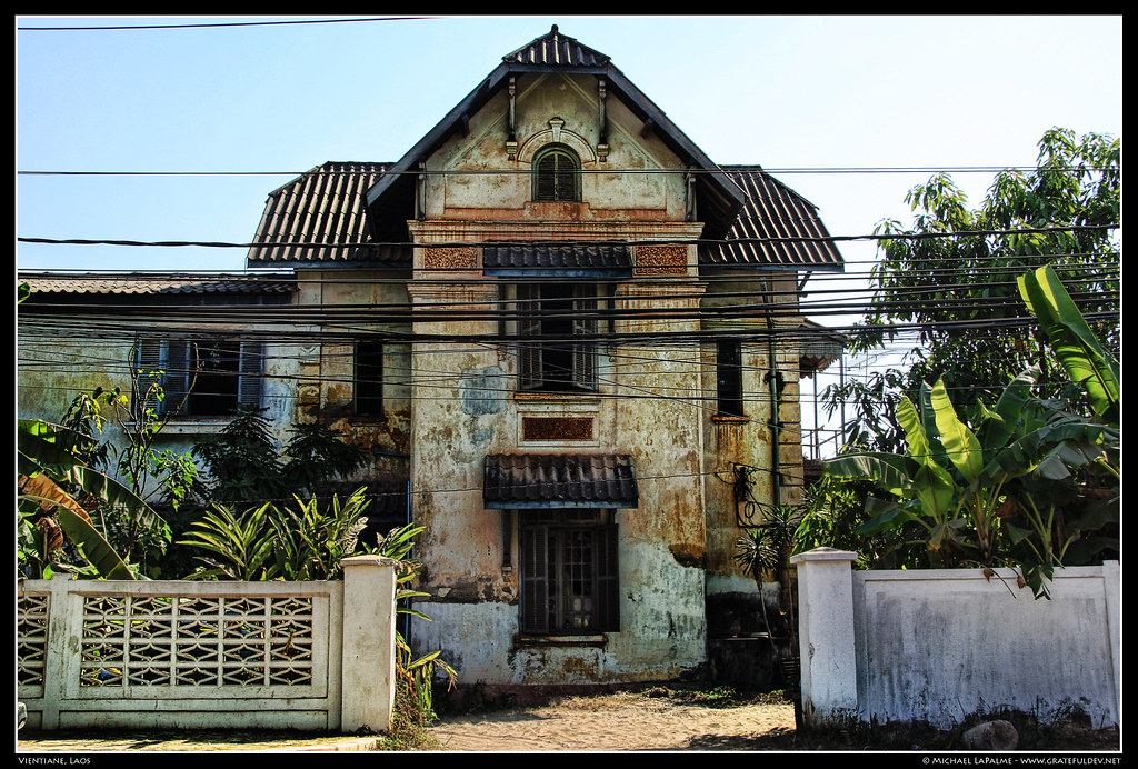 Vientiane Laos An Old Colonial House Sitting Directly Acr Flickr