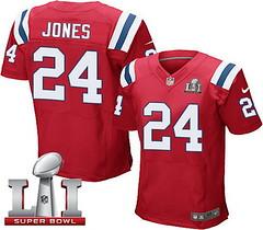 Nike Patriots #24 Cyrus Jones Red Alternate Super Bowl LI 51 Men's Stitched NFL Elite Jersey