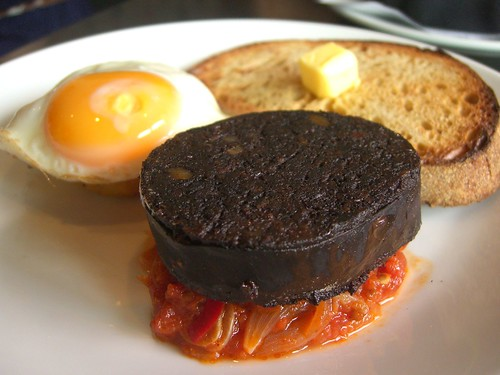 Black Pudding, Stewed Tomatoes, Hash Brown and a Fried Egg - Birdman Eating