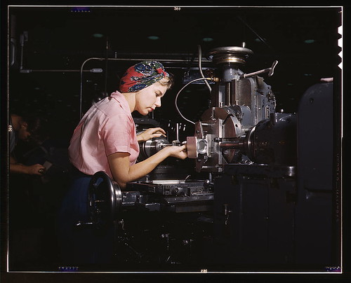 "Women become skilled shop technicians after careful training in the school at the Douglas Aircraft Company plant, Long Beach, Calif. Most important of the many types of aircraft made at this plant are the B-17F (""Flying Fortress"") heavy bomber, the A-20 ( 