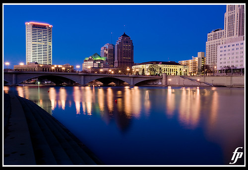 city bridge blue skyline reflections river interestingness downtown wideangle columbusohio 5d ultrawideangle fensterbme interestingness95 i500 canonllens canon1635mm ultrawidelens fenstermacherphotography canon1635mmf28lmkii explore03feb08