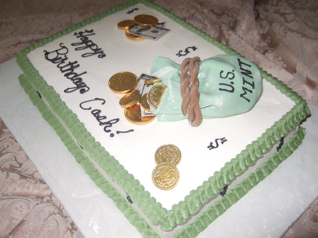 Fantastic Bag Of Money Birthday Cake 13X9 White Cake With Whipped Bu Flickr Funny Birthday Cards Online Alyptdamsfinfo