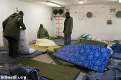 Refugees shelter in Tel Aviv, 17/01/08