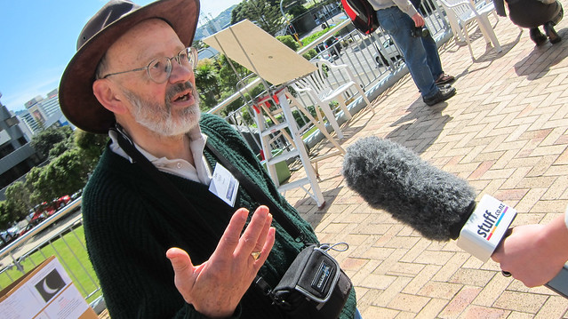 Astronomer guy giving an interview - Nov 2012 - This guy was from Wellington's Astronomical Society, and had put together a telescope that displayed the eclipse on the bottom of a cone with paper. Partial solar eclipse, 76% coverage of the sun at maximum